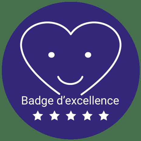 Badge d'excellence (moyenne d'avis clients supérieure à 4/5 sur l'année N-1)